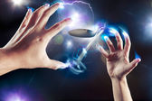 Psychokinesis concept with bent spoon — Stock Photo