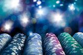 Poker žetony na hracím stole — Stock fotografie
