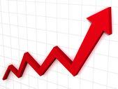 Gráfico de flecha ascendente rojo — Foto de Stock