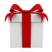 Beyaz arka plan üzerinde izole kırmızı kurdele fiyonklu hediye kutusu — Stok fotoğraf