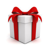 Gift box with red ribbon bow isolated over white background — Stock Photo