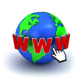 World wide web internet concept, Earth globe with www text and computer hand cursor — Stock Photo