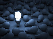 One glowing eco compact fluorescent light bulb standing out from the unlit incandescent light bulbs — Stock Photo