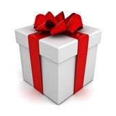 Gift box with red ribbon on white background — Stock Photo