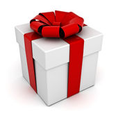 Gift box with red ribbon isolated on white background — Stock Photo