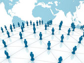 Social network concept over world globe map background — Stock Photo