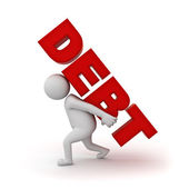 3d man carrying word debt on his back over white background — Stock Photo