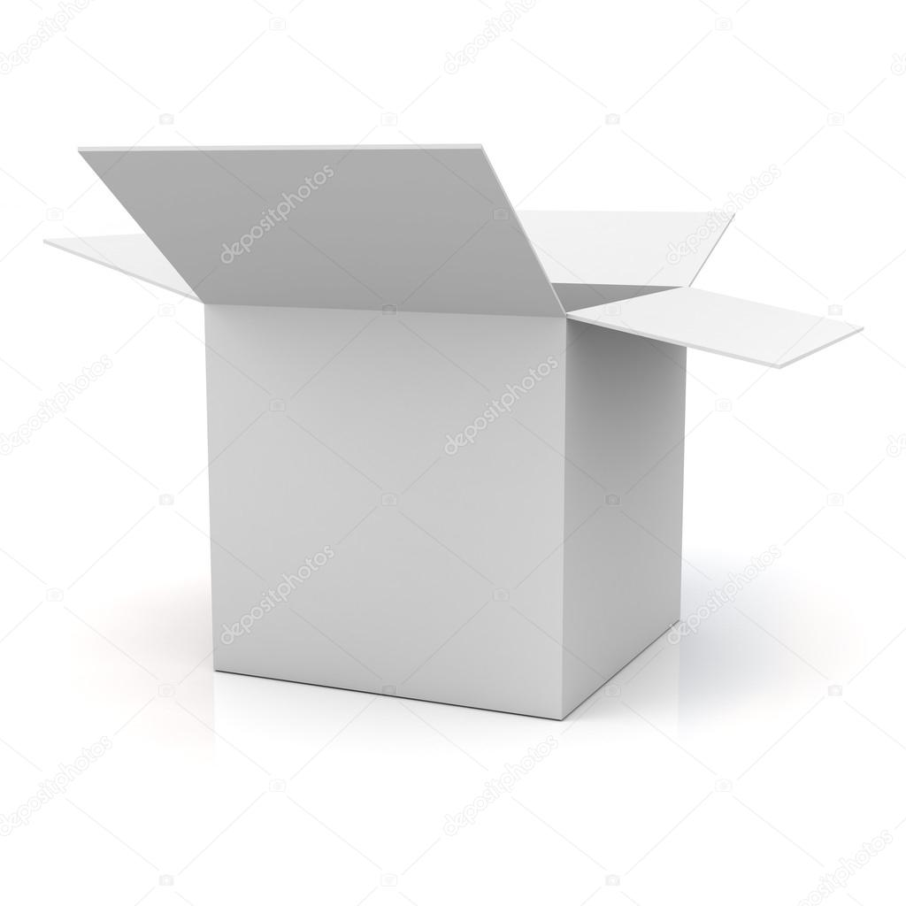 Blank opened cardboard box isolated over white background with reflection — Stock Photo #12629418