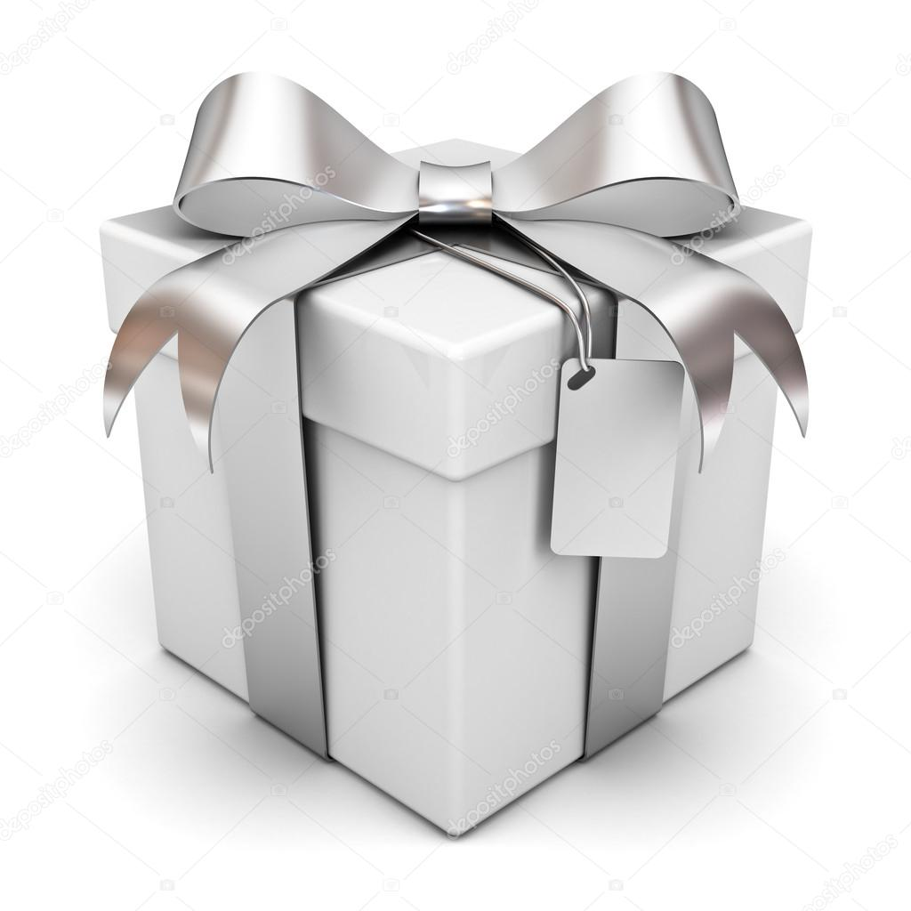 Gift box with silver ribbon bow and blank tag isolated over white ...