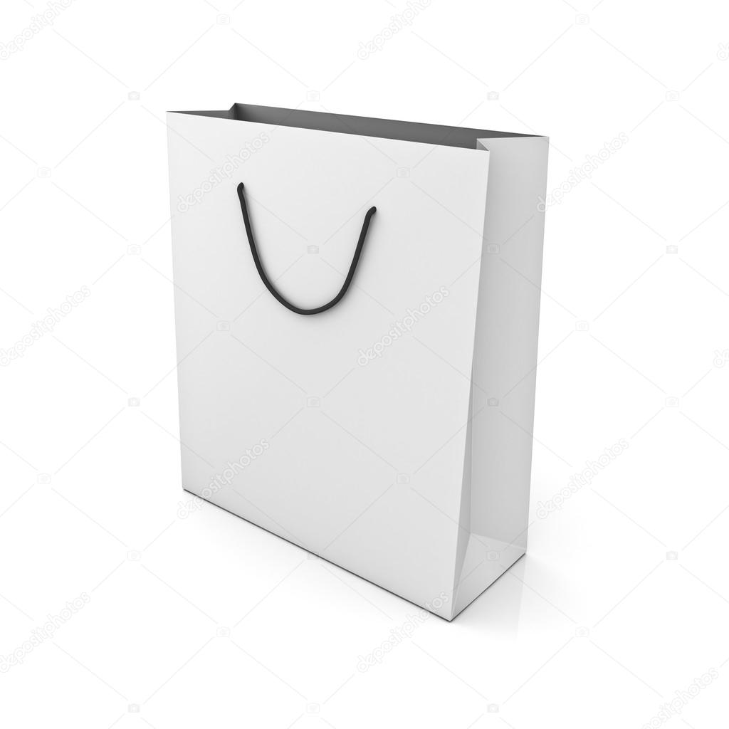 White shopping bag over white background with reflection — Stock Photo #12629472