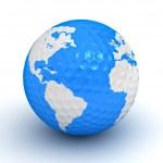 Globe map on golf ball over white background — Stock Photo #12630415
