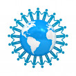 Blue holding hands around globe isolated over white background — Stock Photo #12630767