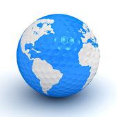 Globe map on golf ball over white background — Stock Photo