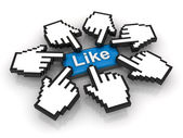 Popular like on social network concept — Stock Photo
