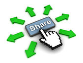 Clicking share button concept — Stock fotografie