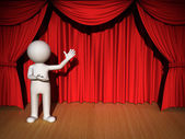 3D uomo che presenta su sfondo rosso sipario — Foto Stock
