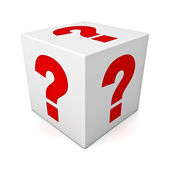 Question box or dice — Stockfoto