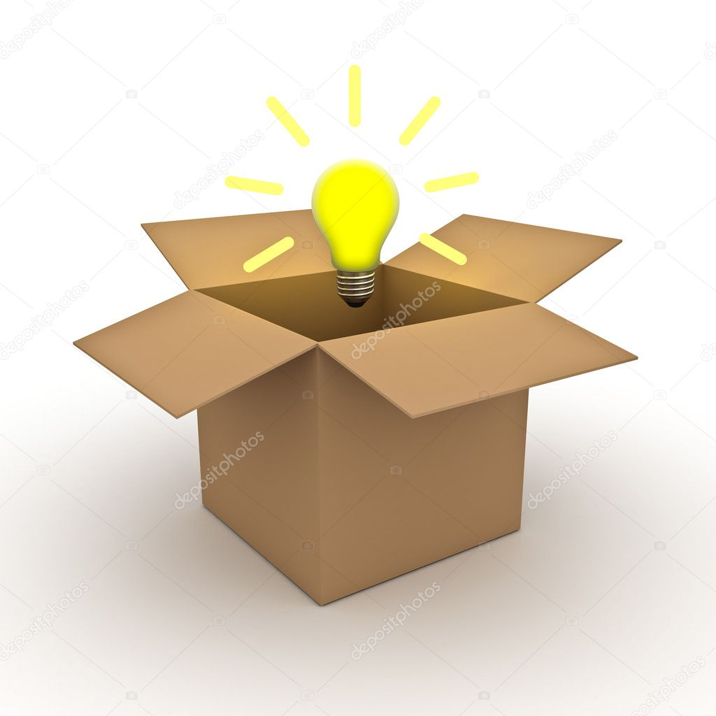 Think out of the box concept, idea light bulb above opened cardboard box isolated on white background — Stock Photo #12630110