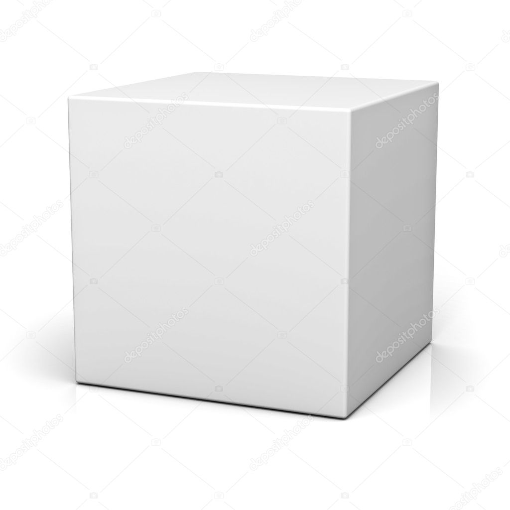 Blank box or cube on white background with reflection  Foto Stock #12630462