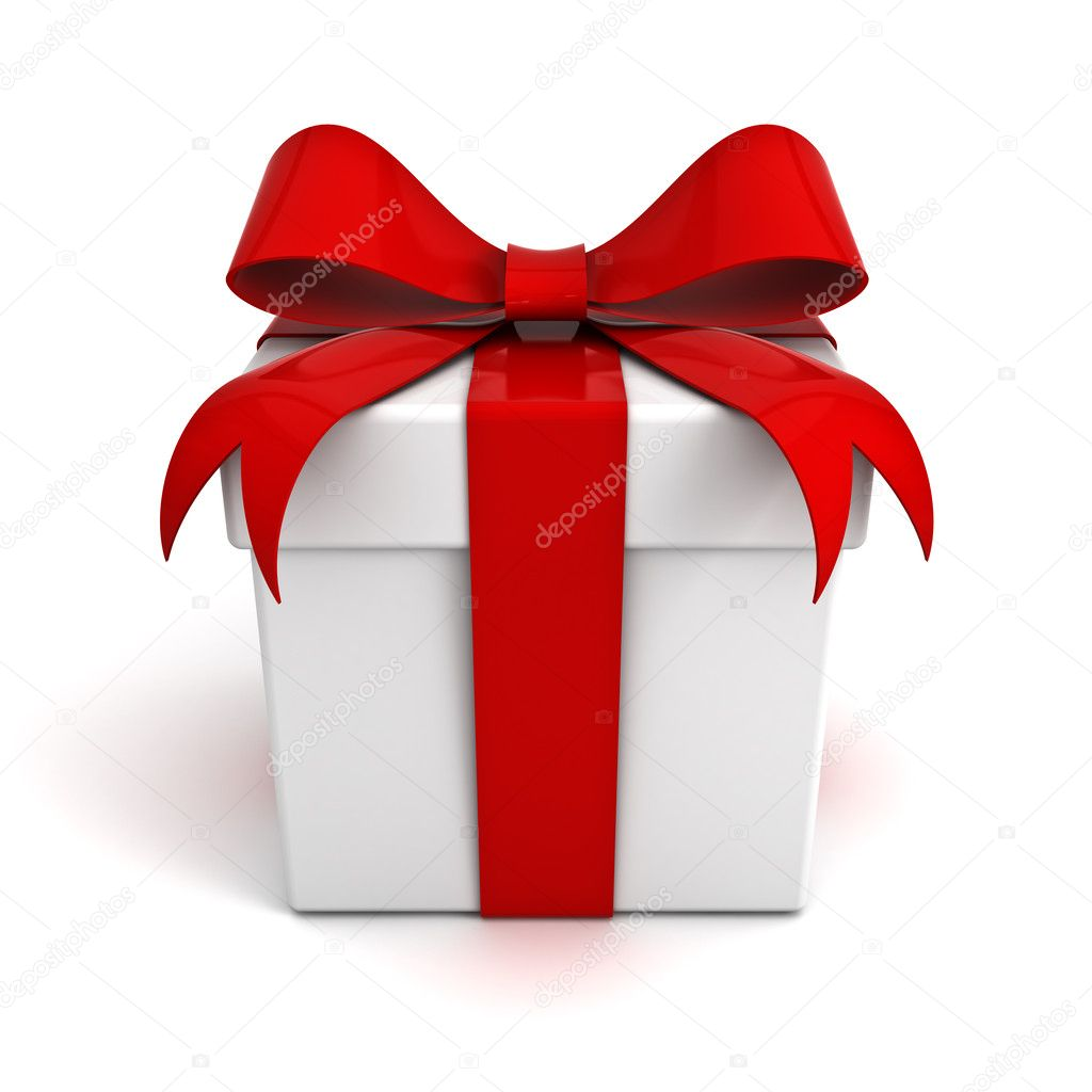 Красный подарок с бантом