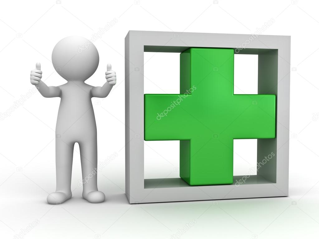 3d man showing thumbs up with green plus sign � stock
