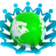Group of holding hands around green globe — Stock Photo
