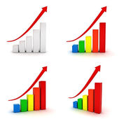 Collection of business graphs with red rising arrow — Stock Photo
