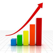 Business graph with red rising arrow — Stock Photo