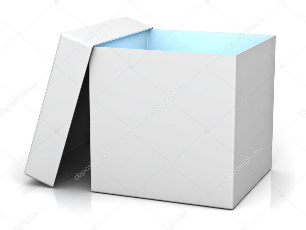 Blank gift box with cover and blue light inside the box isolated over white background with reflection  Foto Stock #19466511