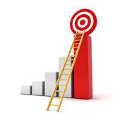 Obchodní cíle koncepce, 3d graf podnikání s dřevěný žebřík k červené cíl izolovaných na bílém — Stock fotografie