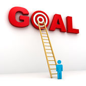 Man aiming to his target in red word goal — Stock Photo