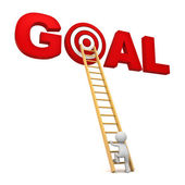 3d man climbing ladder to the red target in word goal isolated over white background — Stock Photo