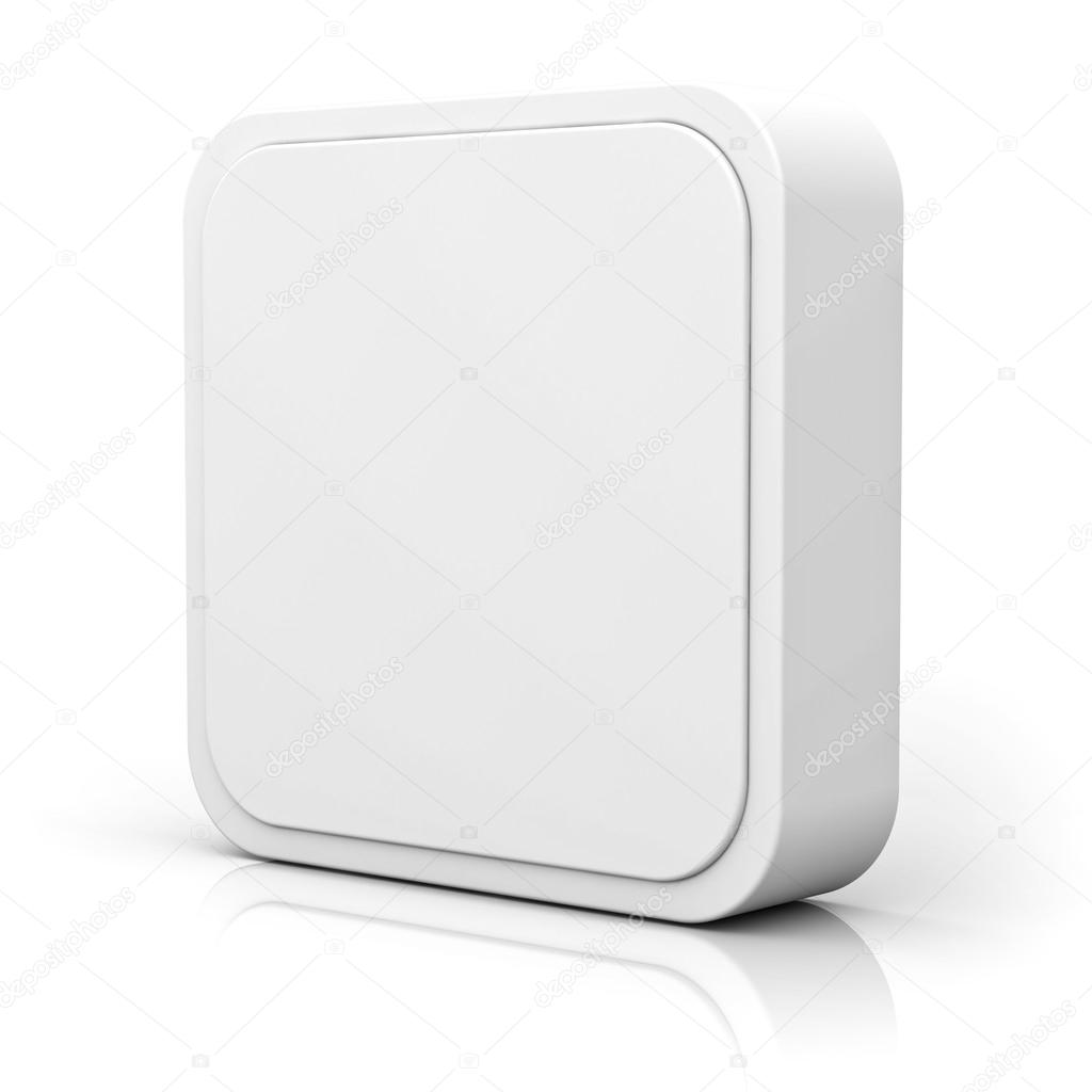Blank 3d square button over white background — Stock Photo ...
