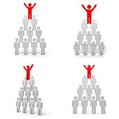 Collection of leadership concept on white background , Red man standing with arms wide open up on top of pyramid — Stock Photo