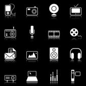 Mass Media icons - black series — Stock Vector