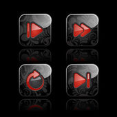 Media player icon set — Vetor de Stock