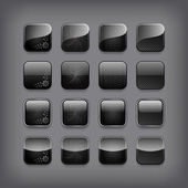 Set of blank black buttons — Stock Vector