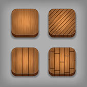 Set of wood textured buttons — Stock Vector