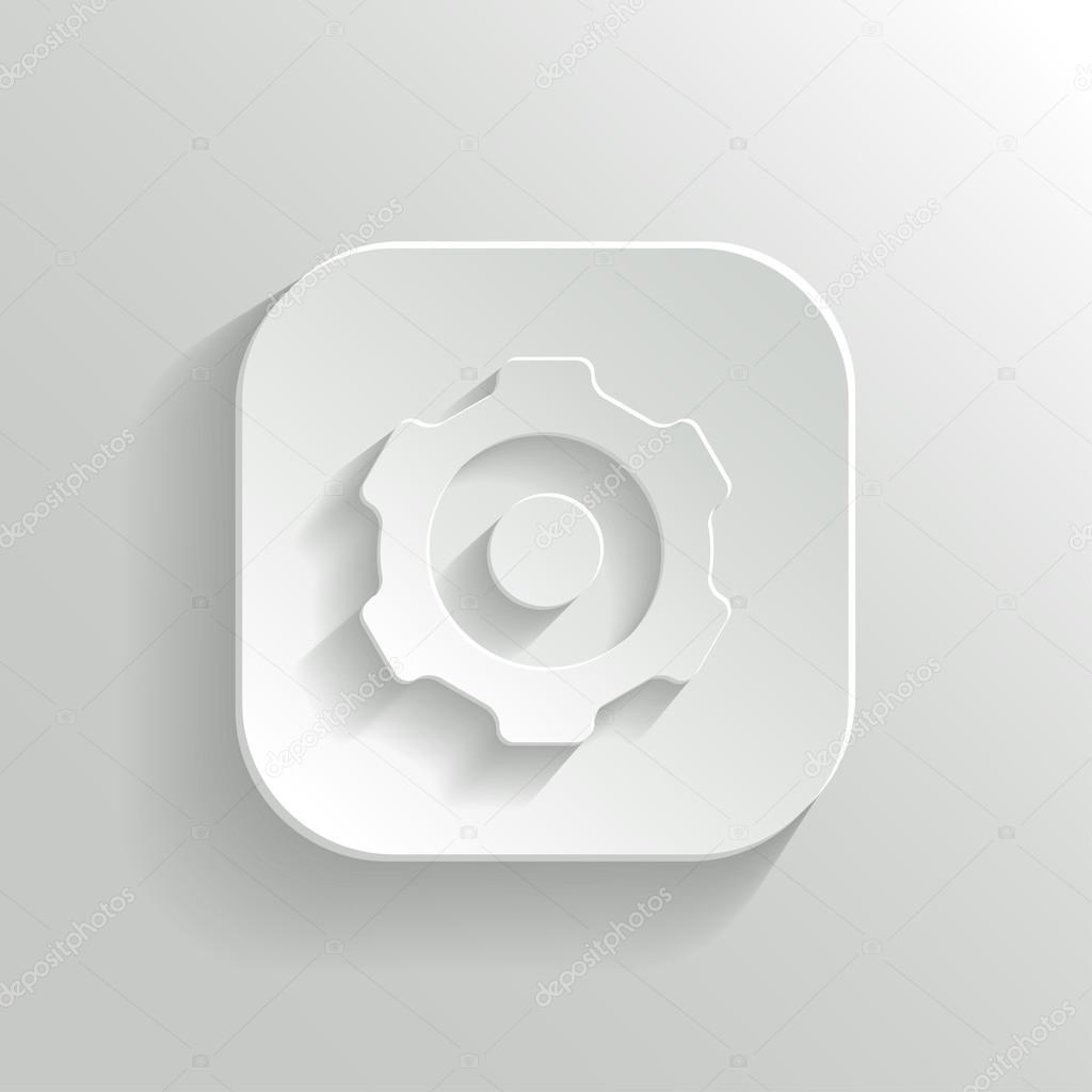 Gear icon - vector white app button — Stock Vector ...