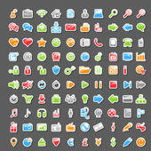 Vector Set of 100 Sticker Icons — Stock Vector