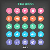 Vector Round Flat Icon Set ?4 — Stock Vector