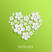 Valentine`s day heart of white flowers — Stock Vector