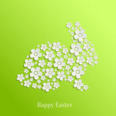 Easter Rabbit Bunny of White Flowers — Stock Vector