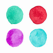 Vector Color Isolated Watercolor Circles Set — Stock Vector