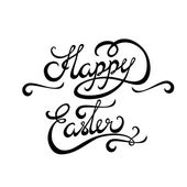 Happy Easter lettering Handmade Calligraphy — Stock Vector