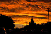 Apocalyptic Sunset over Urban Street — Stock Photo