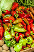 Red and Green Peppers (Capsicum) at the Market — Stock Photo
