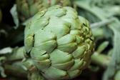 čerstvé zelené kulaté artyčoky na místním trhu — Stock fotografie