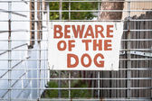 Old Hand Painted Cream and Red Sign: BEWARE OF THE DOG — Stock Photo