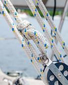 Rope, Lines or Sheets on a Sailboat - Traveller, Block and Tackl — Stock Photo